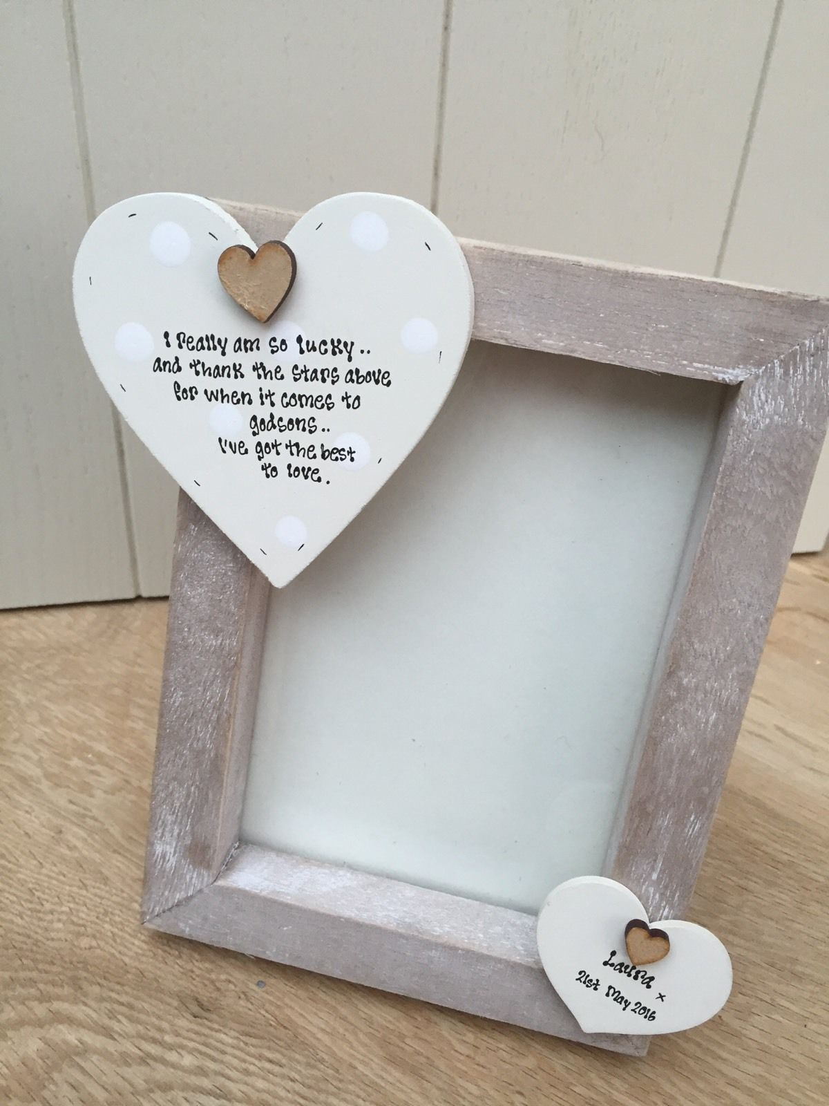 Shabby personalised Chic Photo Frame Godson Gift Godparents Christening